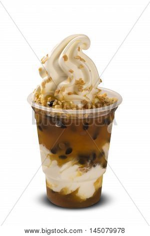 Sundae With Syrup And Passion Fruit Flavor