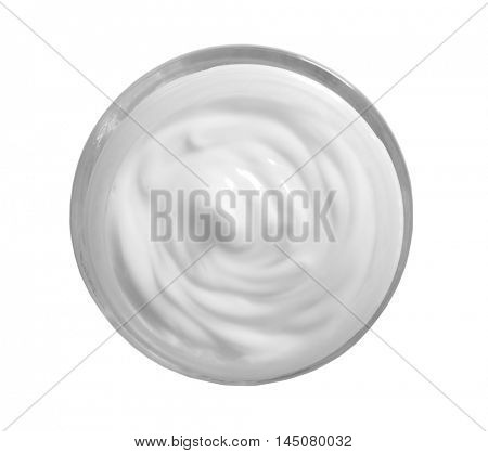 Cosmetic cream in jar, top view, isolated on white