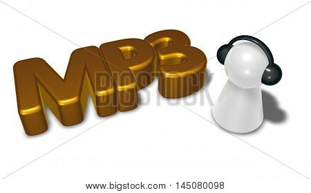 mp3 tag and pawn with headphones - 3d rendering