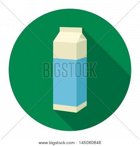 Milk box icon flat. Single bio, eco, organic product icon from the big milk collection.
