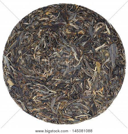 Myanmar raw puerh tea crop overhead view isolated