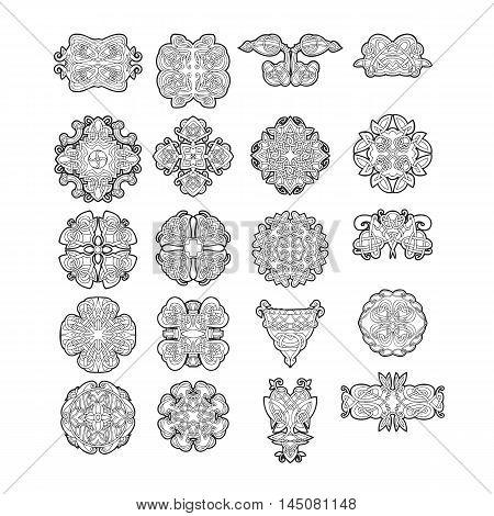 Set of celtic patterns and celtic ornament corners in black. Vector illustration