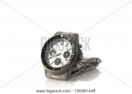 chronograph watch wrist isolated on white background