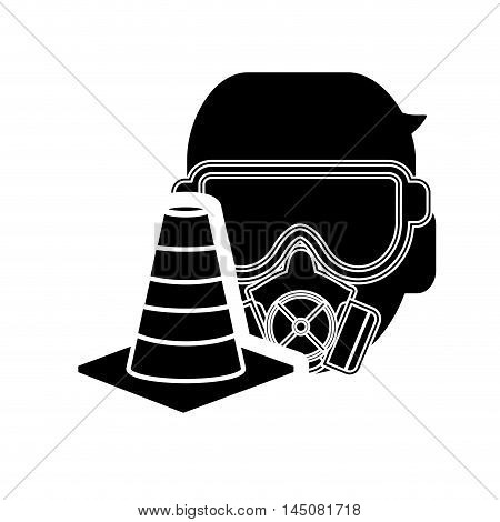 flat design gas mask and traffic cone icon vector illustration