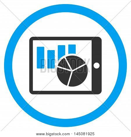 Charts on Pda rounded icon. Vector illustration style is flat iconic bicolor symbol, blue and gray colors, white background.