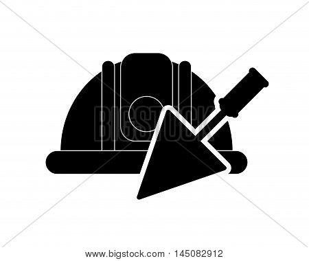 flat design safety helmet and trowel icon vector illustration