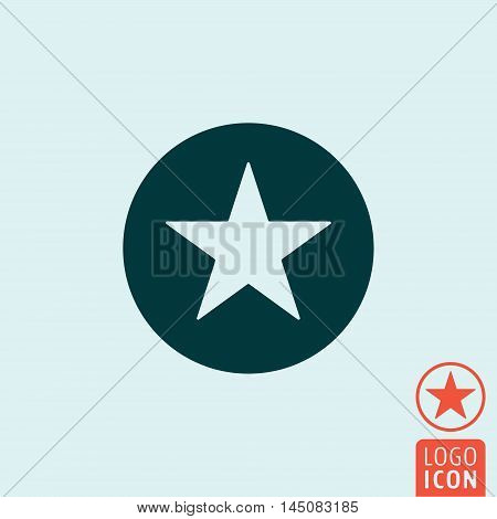 Star in circle icon. Outline circle with star. Vector illustration