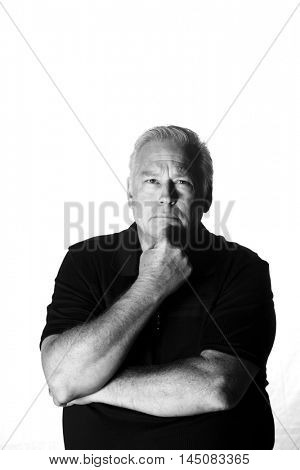 A man thinking. Isolated on white with room for text.