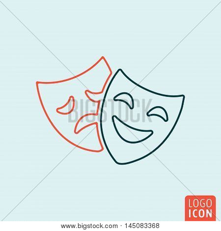 Comedy and tragedy mask icon. Theatre drama symbol. Vector illustration