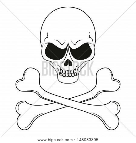 Pirate sign: human skull with crossed bones