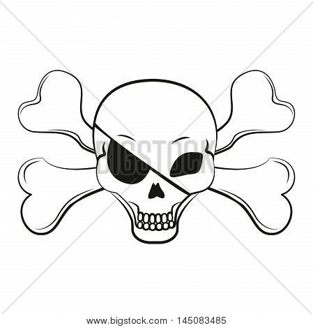 Pirate sign: a skull and crossbones and an eye patch