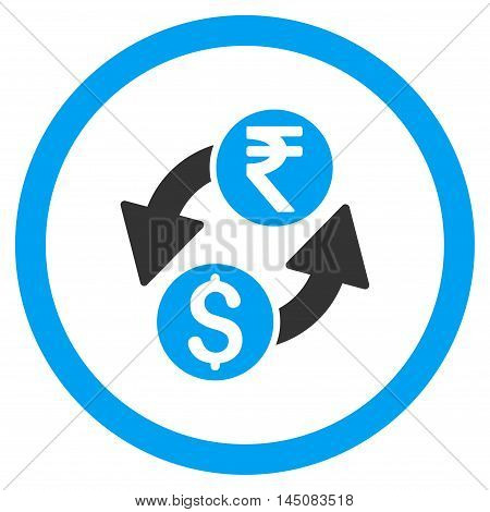 Dollar Rupee Exchange rounded icon. Vector illustration style is flat iconic bicolor symbol, blue and gray colors, white background.