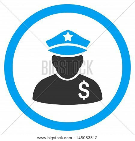 Financial Policeman rounded icon. Vector illustration style is flat iconic bicolor symbol, blue and gray colors, white background.