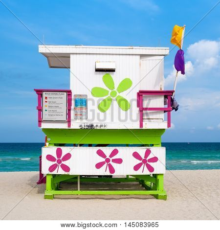 Colorful lifeguard tower on South Beach ,Miami, on a sunny summer day