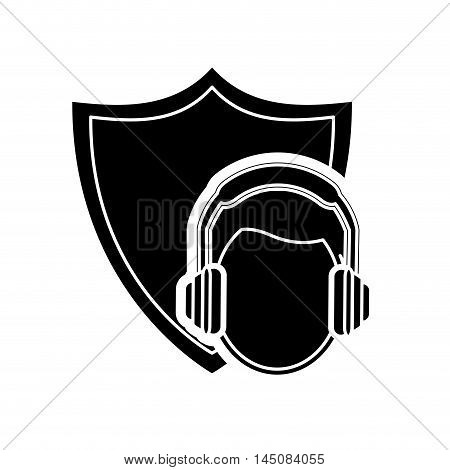 flat design shield and construction worker with earmuffs icon vector illustration