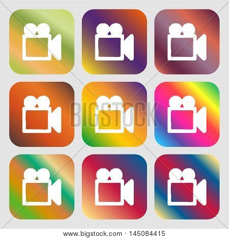 Camcorder Icon. Nine Buttons With Bright Gradients For Beautiful Design. Vector