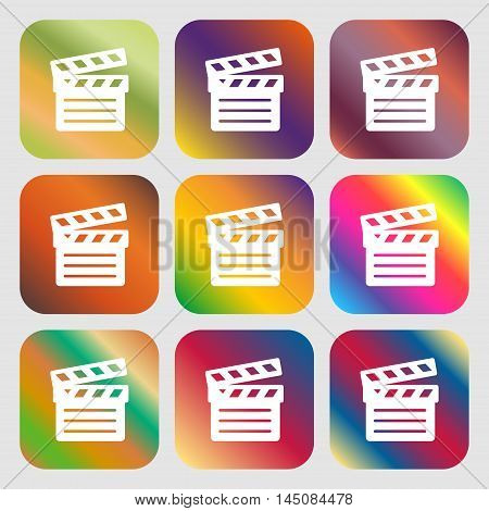 Cinema Clapper Icon. Nine Buttons With Bright Gradients For Beautiful Design. Vector