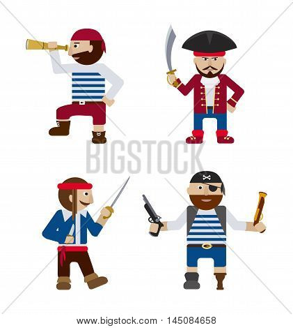 Set of funny pirates with weapon flat vector cartoon illustration