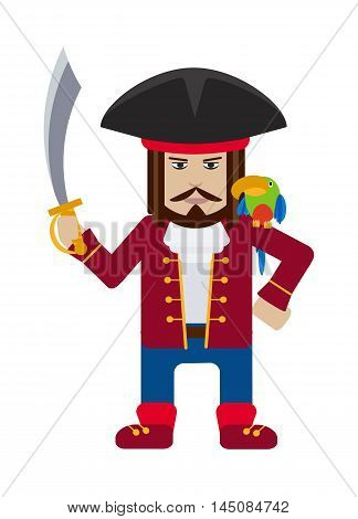 Pirate captain with sword and parrot isolated on white cartoon flat vector