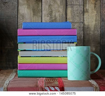 Books and Cup. Back to school. September 1 knowledge Day. The teacher's day.