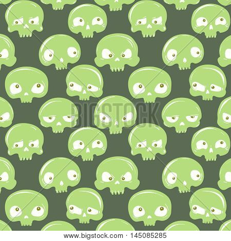 vector seamless pattern with hand-drawn emotional green skulls