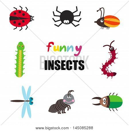 Vector set of funny cartoon insects isolated on white spider, bugs, dragonfly, caterpillar and ant
