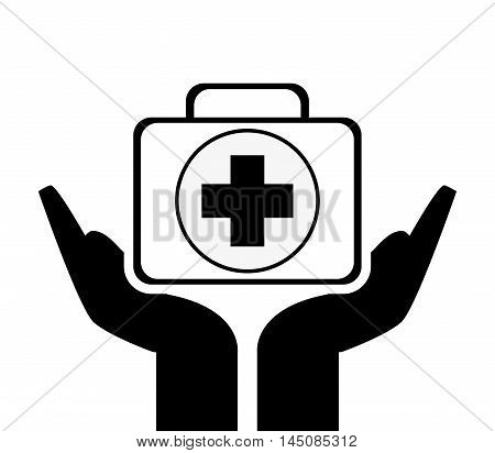 flat design sheltering hands andfirst aid kit icon vector illustration