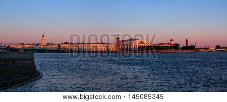 Spit of Vasilyevsky Island in St. Petersburg at sunrise, Russia