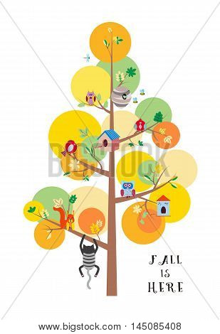 Fall is here. Autumn tree with colorful leaves, birds, animals and nesting boxes, insects flat vector illustration