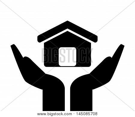 flat design sheltering hands and house icon vector illustration