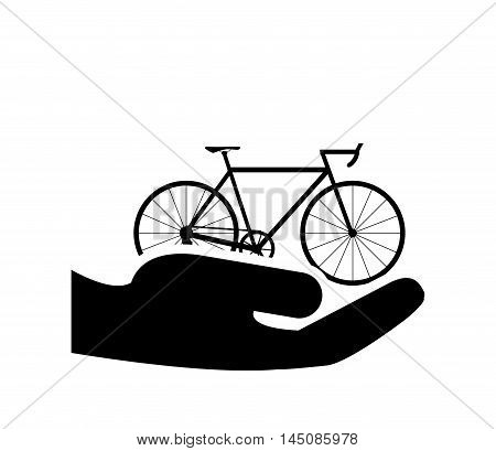 flat design sheltering hands and bike icon vector illustration