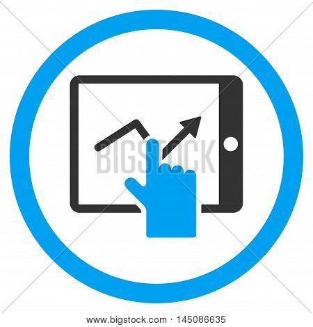 Tap Trend on Pda rounded icon. Vector illustration style is flat iconic bicolor symbol, blue and gray colors, white background.