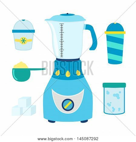 Cartoon set for coctails, smoothie with blender, mixer. Ingridients foroxygen, protein and other coctails. Vector illustration.