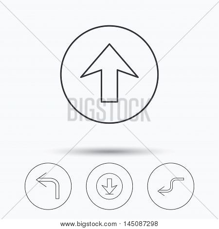 Arrows icons. Download, upload and shuffle linear signs. Turn left, back arrow flat line icons. Linear icons in circle buttons. Flat web symbols. Vector