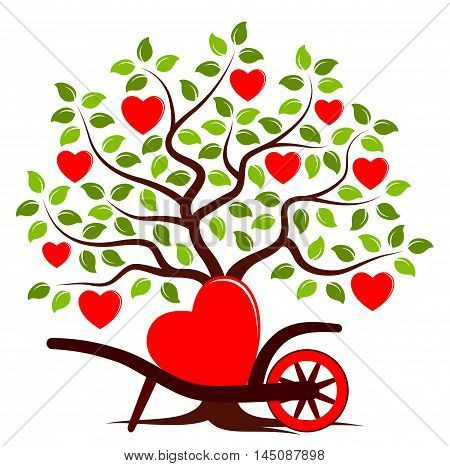vector heart tree and hand barrow with one big heart isolated on white background