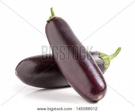 two eggplant isolated on white background macro.