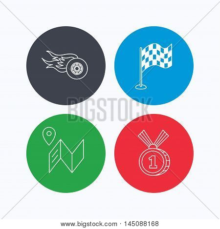 Race flag, map and winner award icons. First place medal, wheel on fire linear signs. Linear icons on colored buttons. Flat web symbols. Vector