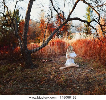 A woman dressed in a white dress with embroidery sits in the autumn park. High resolution Brenzier method image.