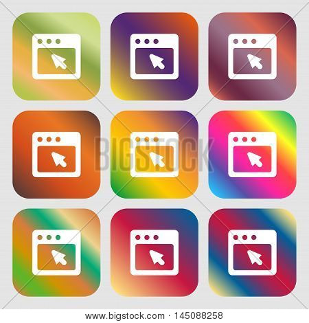 The Dialog Box Icon. Nine Buttons With Bright Gradients For Beautiful Design. Vector