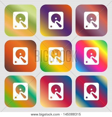 Hard Disk Icon. Nine Buttons With Bright Gradients For Beautiful Design. Vector