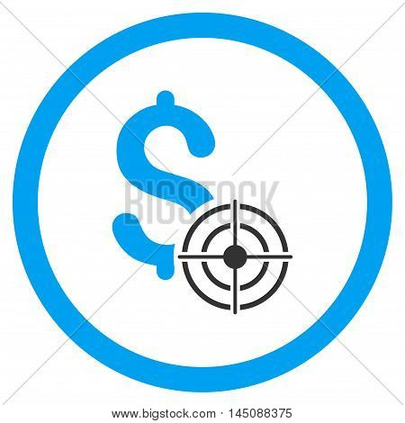 Business Target rounded icon. Glyph illustration style is flat iconic bicolor symbol, blue and gray colors, white background.