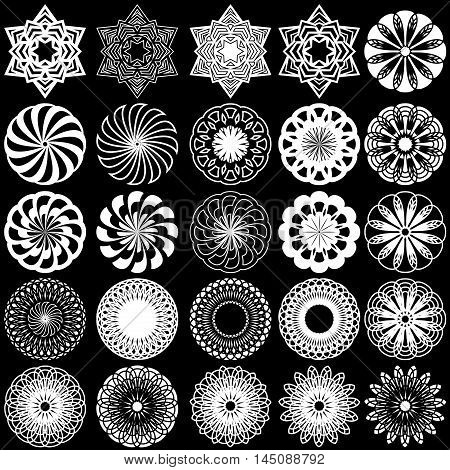 Set of twenty five white ornamental rotated objects on the black background monochrome symmetrical vector stencils