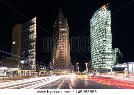 Street Traffic At Night At Potsdamer Platz In Berlin, Germany