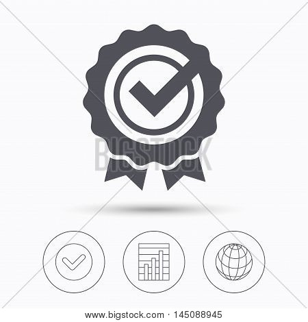 Award medal icon. Winner emblem with tick symbol. Check tick, graph chart and internet globe. Linear icons on white background. Vector