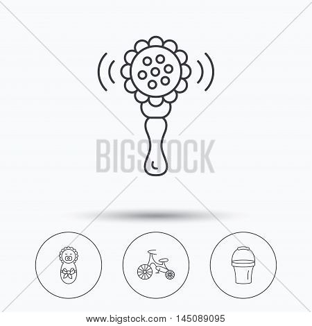 Newborn, rattle and first bike icons. Newborn child, bucket linear signs. Linear icons in circle buttons. Flat web symbols. Vector