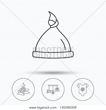 Baby clothes, bath bubbles and hat icons. Baby toys linear signs. Linear icons in circle buttons. Flat web symbols. Vector