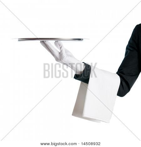 Waiter serving with stainless tray isolated on white background