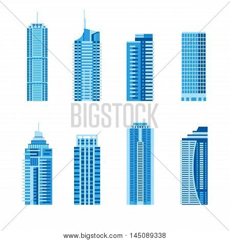 Modern skyscrapers set, flat style architecture design