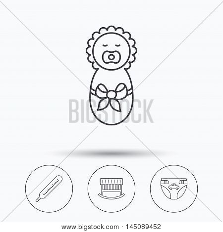 Newborn, diapers and thermometer icons. Cradle bed linear sign. Linear icons in circle buttons. Flat web symbols. Vector
