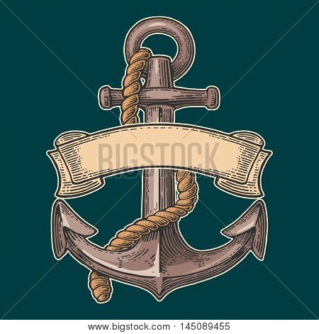 Anchor with ribbon and rope isolated on turquoise background. Vector vintage color engraving illustration for tattoo web and label. Hand drawn in a graphic style.